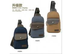 广州箱包定制帆布包配真皮胸包男商务包定制