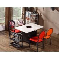 小吃店桌椅组合简约现代咖啡厅奶茶火锅食堂餐饮饭店快餐桌椅