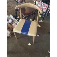 仿实木铁艺牛角椅子北欧靠背餐椅咖啡厅西餐厅餐椅