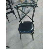 复古铁艺交叉靠背椅酒吧餐厅餐椅咖啡椅工业风休闲快餐店餐椅