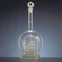 河北工艺酒瓶厂家定制灯泡型内套帆船玻璃酒瓶
