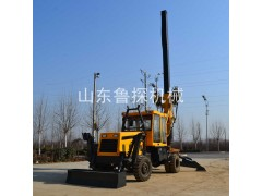 供应鲁探液压方杆打桩机加压施工高效 轮式防汛旋挖钻机