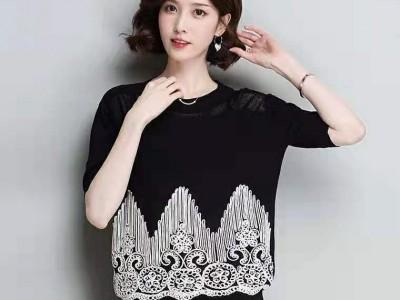 广州折扣货源 冰麻上衣 针织衫 品牌女装货源批发