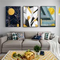 大气客厅装饰画现代简约沙发背景挂画山水轻奢墙画背有靠山三联画