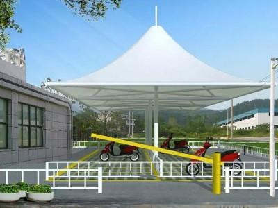 荆门物业汽车停车棚张拉膜 荆门自行车遮阳棚钢膜结构