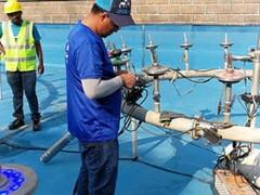 迪拜地球村一年一度的喷泉维护开始了
