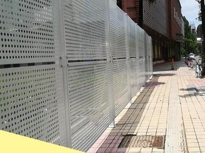 中山河道整治工程隔离围蔽 金属烤漆穿孔透风板安全围挡