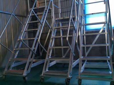 大连华峰定制铝合金移动平台梯围栏扶手登高梯子仓库货架梯