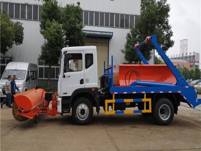 供应青海冬季东风多利卡摆臂垃圾车加装雪滚除雪铲 除雪设备