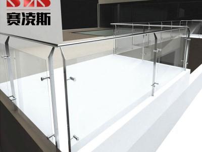 定制不锈钢楼梯立柱子304钢化玻璃护拦 商场扶手阳台拦河