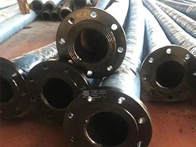 生产10寸吸排泥沙胶管 大口径输水胶管 钢丝骨架带碳钢法兰
